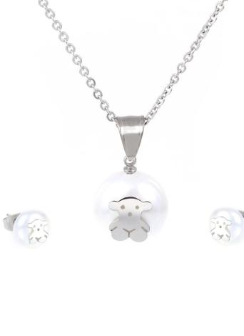 Un conjunto de collar y trozo pendientes colgantes de perla Artificial con Little Bear 304L titanio acero joyería de moda Set