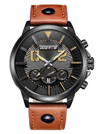 RISTOS reloj deportivo hombres cuarzo relojes 3ATM resistente al agua reloj