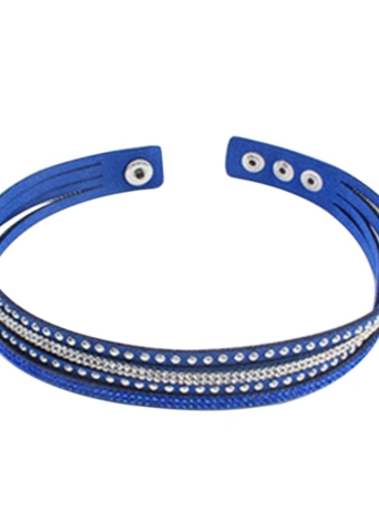 Bracelet à bracelet large en cuir cristallin à la mode Gothic Women Fashion Multicouche