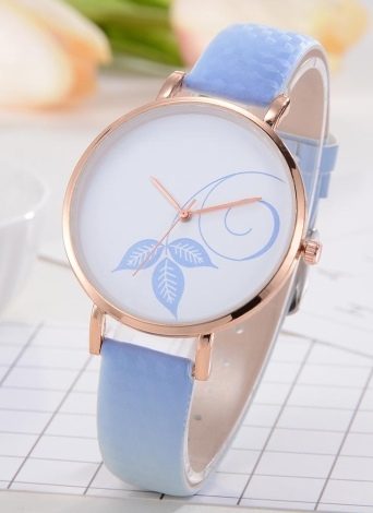 Fashion Simple Watch Color Change Sunlight Beautiful Flower Pattern Quartz Wrist Watch