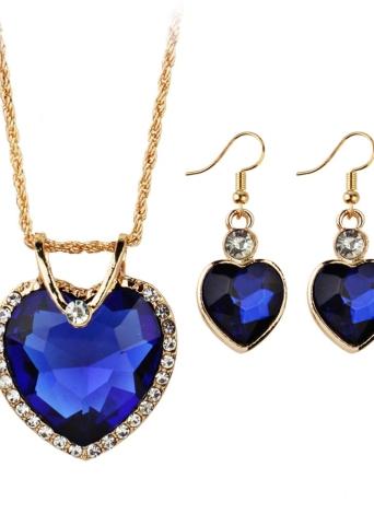 Blau Gold Plated Schmuck Set Für Frauen Kristall Herz