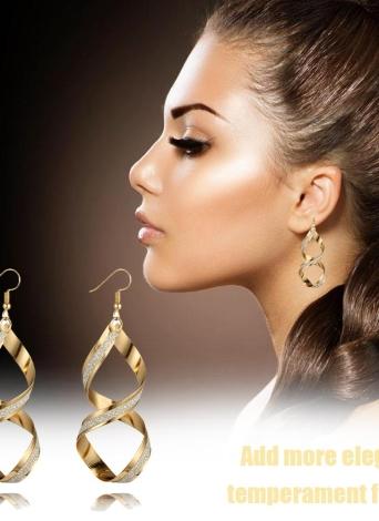 Personalidad simple y moda Pendientes largos Geometría irregular Gota giratoria Oído con aleación de zinc