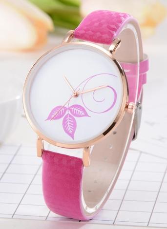 Mode Simple Montre Couleur Changer la Lumière du Soleil Belle Fleur Motif Quartz Montre-Bracelet
