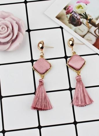 Fashion Trendy Texturé Velours Carré Long Tassel Boucles d'oreilles Femmes Charme Bijoux
