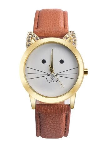 New Fashion All-match Neutral Diamond Lovely Cats Face Women Relógio Quartz