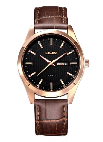 DOM Brand Luxury Diamond Genuine Leather Men Watch