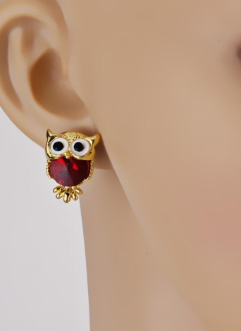 Fashion Naughty Owl Crystal Rhinestone Sparkle Cubic Zirconia Ear Studs Earrings