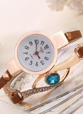 Moda Vintage Rhinestone Embedded Sapphire Peacock Eye Stylish Winding Women Wrist Watch