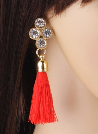Mulheres Moda Rhinestones Lã Rope Tassels Brinco linda jóia Retro Drop Earring