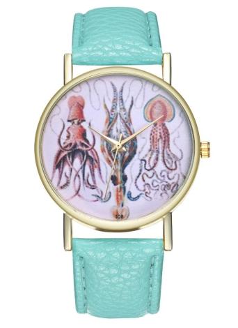 Reloj de cuero de ilustración de calamar vintage para mujeres reloj de hombre Ideas de regalo de boda de cumpleaños T08