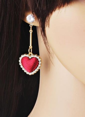 Mode Rétro Velours Plaid Amour Coeur Diamant Long Pendentif Boucles D'oreilles Oreille Ornement Accessoire