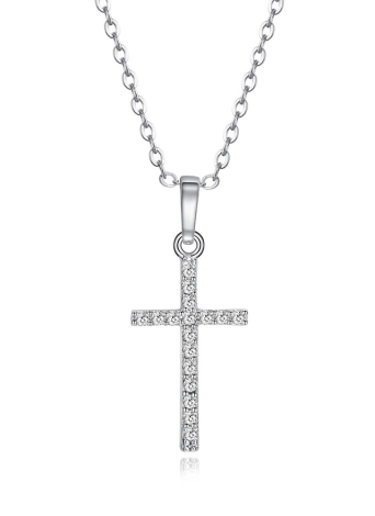 Zircon Rhinestone Crystal Cross Pendant Necklace