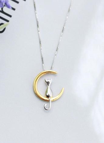 Cute Fine Cat Moon Pendant Necklace Lovely Leisure Chain Necklace Mulheres Jóias Gift Acessórios de moda
