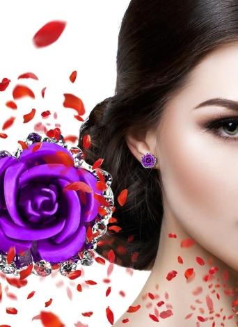 Moda Mulheres Liga Cristal Rhinestone Orelha Stud Rosa Brincos Partido Presente