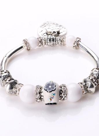 Mujer retro de la manera de la vendimia Única chica Metal plateado plata de los granos del brazalete pulsera de la aleación de zinc Strand encanto de la joyería fina de regalo del partido