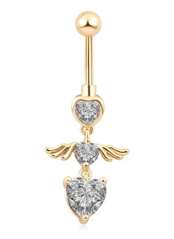 Moda Mulheres em forma de ouro Três em forma de coração Com asas de anjo Navel Unha
