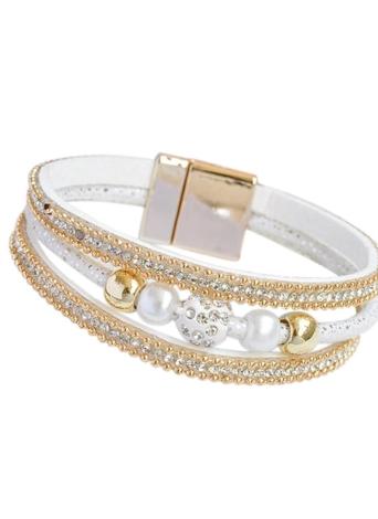 Moda de múltiples capas de cristal rebordeado tipo de cuero Wristband