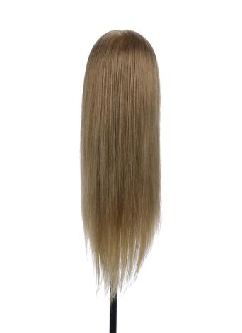 Cabeza de entrenamiento 75% Holder real del cabello humano del maniquí Cabeza de peluquería Salon maniquí Cabeza Cabeza + Pinza de pelo para la práctica de pelo