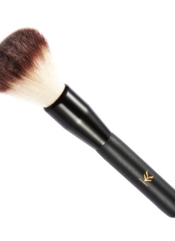 Maquillaje HUAMIANLI cepillo de base cosmética Cepillo redondo Pincel Contorno Blush cepillo de nylon del polvo del cepillo con mango de madera Negro