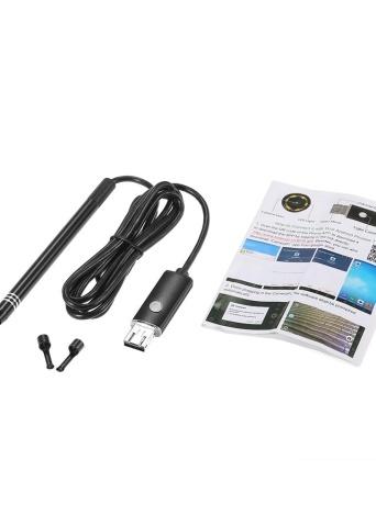 2 en 1 Endoscopio Interfaz USB multifuncional Limpieza del oído Earpick visual con Mini cámara Oídos Cuchara Herramienta 6 LED ajustables para Android