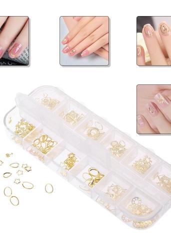 2pcs Nail Sticker 1 Box 3D Nail Art Glitters Studs Cat Lase Lace Patttern Manicure Metal Gold Decoração Manicure DIY