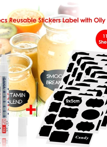 88pcs Reusable Stickers Label with Oily Pen Wall Sticker Use On Candy Jam Jars Kitchen Snack Nut Container