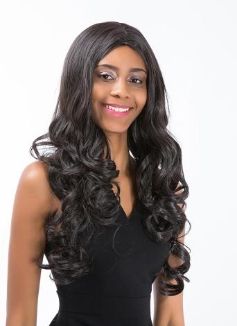 25 «Les femmes perruque long bouclés Wavy noir haute température fibre perruque Hairpiece cosplay perruque Parti Femme