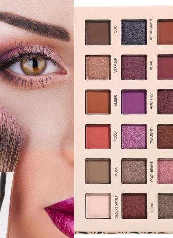 18 Sombra de ojos de color Natural Mate Shimmer Paleta de sombras de ojos Luminoso de larga duración Presionado Glitter Eyeshadow Impermeable Cosmética exótica Aduanas