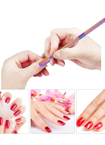 1 unid de Acero Inoxidable de Doble Extremo Nail Pusher Nail Cuticle Remover Empujador antideslizante Manicura Pedicura Dead Skin Trimmer Cleaner