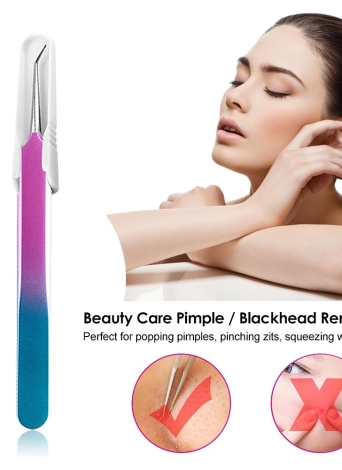 Stainless Steel Pimple Needle Blackhead Remover Acne Clip Tweezer Comedone Extractor Tool Beauty Care