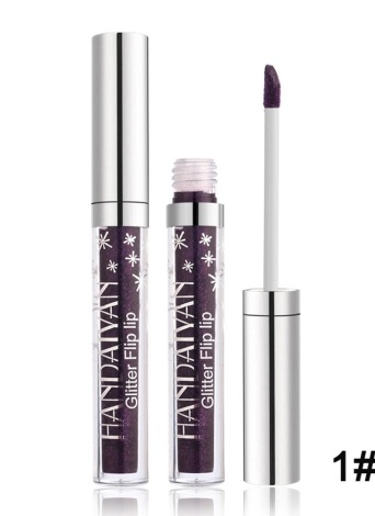 HANDAIYAN Glitter Flip Lipstick Non-stick Diamond Shinning Lipgloss Shimmer Iridescent Mermaid Glitter Long Lasting Liquid Lipsticks Bling Bling Metallic Lip Gloss (#1 Purple )