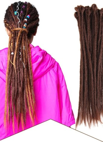 1 Pack 10 PCS Dreadlocks à la main Extensions Mode Reggae Crochet Hip-Hop Dreads Synthétiques Crochet Tressage Cheveux 1 #