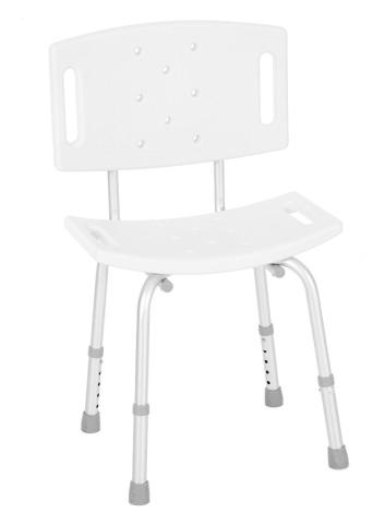 Silla de ducha médica con respaldo desmontable Pies ajustables blanco