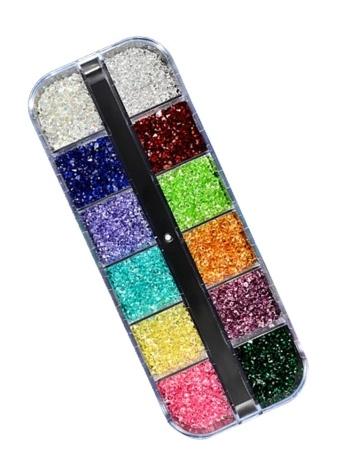 Nouveau Bijoux 12 Couleurs Pcaked Ensemble Dans Une Boîte Brillant Paillettes Alliage Oeil-forme Diamant Strass Nail Décoration