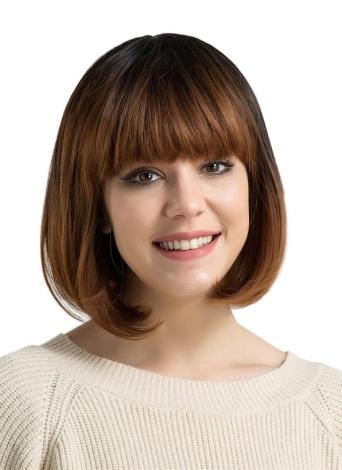 """Peluca de pelo corto Bob de 14 """"peluca recta con flequillo plano Marrón gradual de fibra sintética de color Cosplay peluca de fiesta diaria para mujeres YJJ097"""
