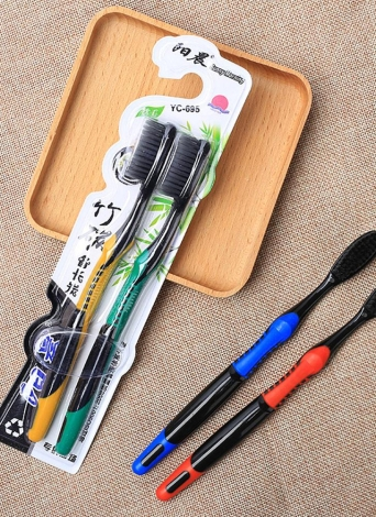 2pcs Bamboo Charcoal Toothbrush Soft Black Tooth Brush Travel Eco-friendly Brush Tooth For Adults