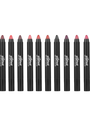 Popfeel 12Pcs / set Rojo duradero impermeable del labio del lápiz labial hidratante mate