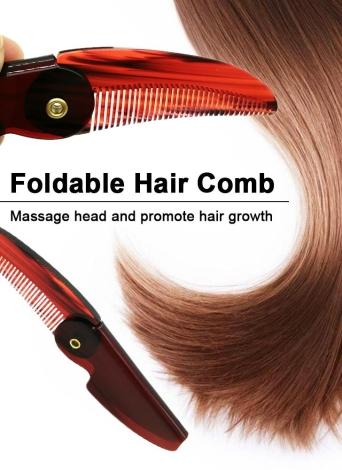 1pc Foldable Hair Comb Portable Travel Hair Brush Hair Comb Plastic Folding Detangling Anti-static Hair Brush