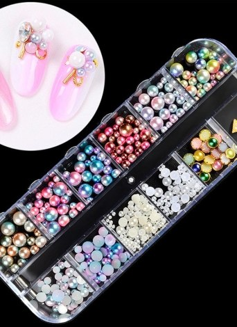 12 Estilos Multicolor Manual DIY Moda Perla Nail Decoración Múltiple Especificaciones Nail Art Tool
