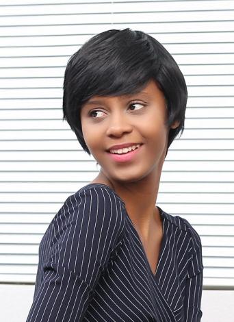 Peluca corta de encaje sintético negro de fibra sintética recta para Office Lady