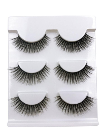 3 Pairs Falso Eyelash Longo Preto Grosso Falsos Lashes Natural Maçã macia Eye Lashes Cross Handmade False Eyelash
