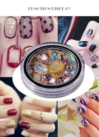 Rosa azul Nail Art diamante decoração afiada no fundo transparente único cristal contas de diamante de vidro