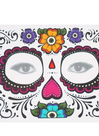 Temporary Tattoo Sticker Scars Terror Halloween Flowers Pattern Eyes Face  Stickers Makeup Stage