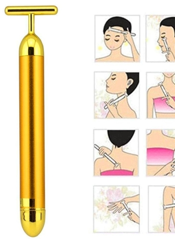 Frauen 24 Karat Goldene Massage Bar Mode Anti-falten Gesicht Massagegerät Elektrische Verbessern Haut Festigkeit & Vitalität Hautpflege Werkzeuge