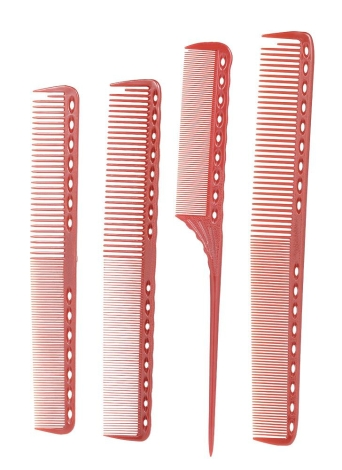 4 Pcs Professional Hair Scale Comb Set Salon Hair Cutting Styling Measure Combs Tail Comb Anti-Static Hairdressing Brush