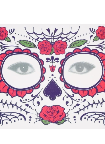 Temporäre Tattoo Sticker Narben Terror Halloween Blumen Muster Augen Gesicht Sticker Make-up Bühne