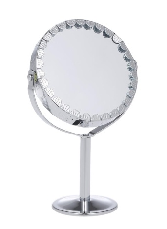Espejo de maquillaje 3X 3X Espejo de forma redonda Espejo de escritorio de tocador cosmético de doble cara con base de Halfsphere