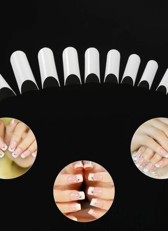 500pcs / pack Cor Natural Falso Nail Art Tips C-shape Francês unhas Dicas Acrílico C Curva das unhas falsas Mold Tools 10 tamanhos unhas falsas dicas
