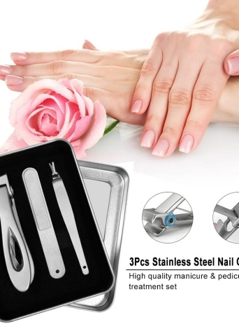 3Pcs Stainless Steel Nail Clipper Cutter Manicure & Pedicure Set Nail Trimmer Travel & Grooming Kit with Storage Case