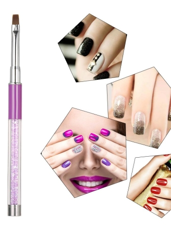 1pc Nail Art Pinsel Nylon DIY Nagel-Feder-Flach Nail Malpinsel Salon Dekoration Feder für UV-Gel-Nagel-Werkzeug Lila